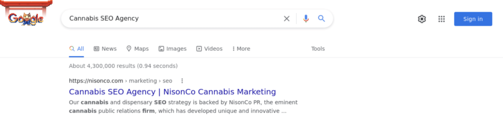 Ranking First for Cannabis SEO Agency