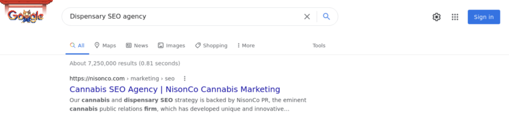First Position for Dispensary SEO Search Term