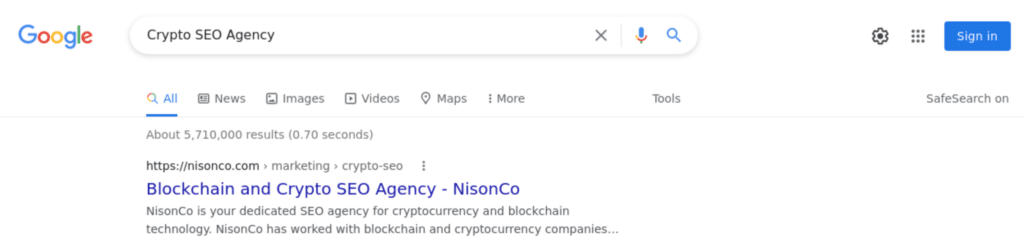 Top Position for Crypto SEO Agency Search